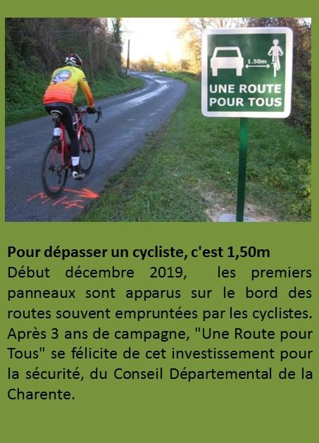 SECURITE pour depasser un cycliste c'est 1.50m